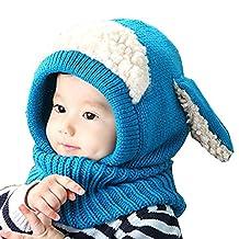 Fashion Kids Boy Girl Winter Warm Beanie Hat Hooded Scarf Earflap Knitted Cap