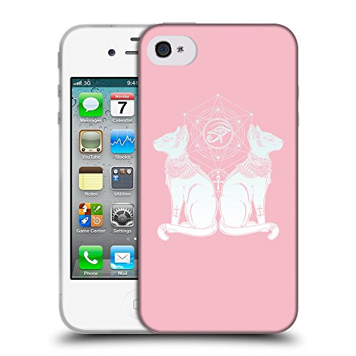 GoGoMobile Coque de Protection TPU Silicone Case pour // Q09490630 Chat égyptien 2 Rose // Apple iPhone 4 4S 4G