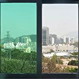 HOHO Green Decoration Solar Tint Window Film Self-Adhesive for Kitchen,Bathroom Windows,60''x98ft Roll