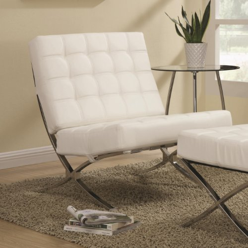 (Modern Barcelona Chair (White) Lounge Leatherette Accent)