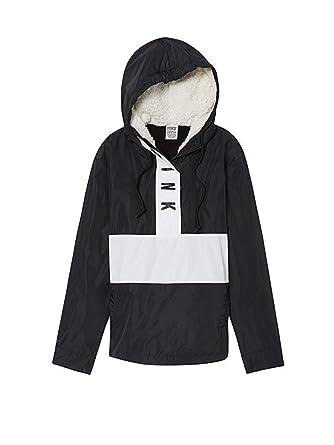 eab1d4bad99a4 Victoria's Secret Pink Sherpa Lined Hooded Anorak Jacket, Black ...