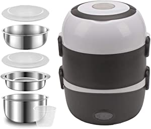 3 Layers Electric Warmer Lunch Box Food Heater Portable Bento Rice Cooker Office Lunch Containers Warming Home Food Grade Material Steamer with Stainless Steel Bowls, Egg Steaming Rack -Brown