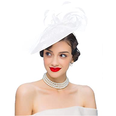 Fascinators Sinamay Hat for Women British Style Vintage Hat Wedding Derby  Church Hats with Feathers ( 62ce31dad04