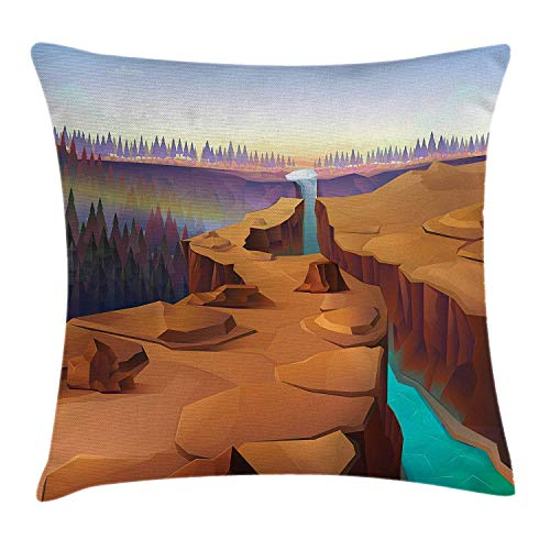 WCMBY Southwestern Throw Pillow Cushion Cover, Cartoon Canyon Landscape with Distant Forest Tree Silhouettes National Park, Decorative Square Accent Pillow Case, 18 X 18 inches, Multicolor