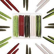 "XFISHMAN Senko Worms Bass Fishing Lure Kit 30 pk Wacky Rig Worms Soft Plastic Stick Baits 4"" 5&"
