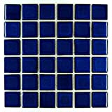 Premium Quality Cobalt Blue Porcelain Square Mosaic Tile Shiny Look 2x2 Inch (Box of 21.76 Sq Ft)