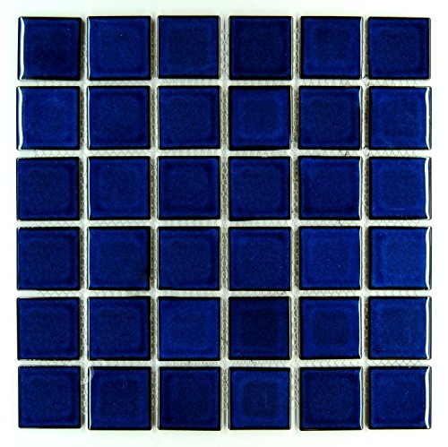 Premium Quality Cobalt Blue Porcelain Square Mosaic Tile Shiny Look 2x2 Inch (Box of 21.76 Sq - Mosaic 2 Inch