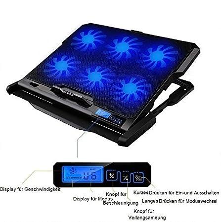 Soporte enfriador de 6 ventiladores para PC portátil, notebook, Consoles... Compatible periférico de 9 a 17, - luz LED azules, ventilación y altura ...