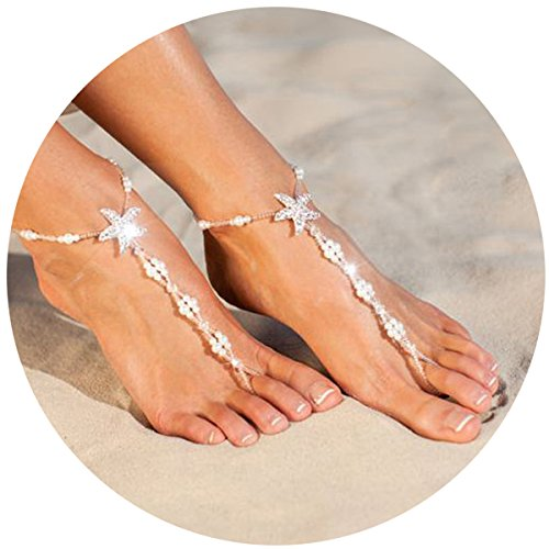 FAYBOX Wedding Foot Jewelry Beach Barefoot Sandals Anklets Starfish Stretch Foot chain with pearl Rhinestone for Destination Bridal Gift 2pcs