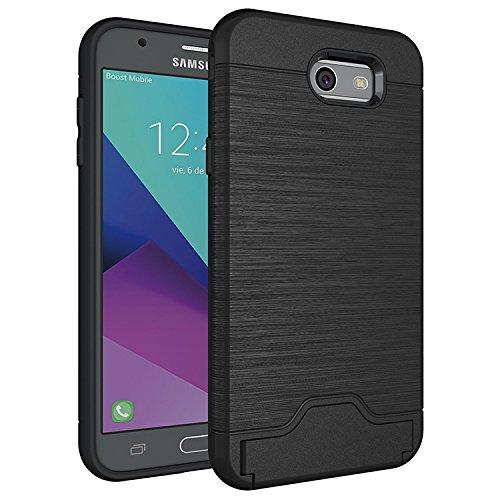 Galaxy J7 Prime Case, Galaxy Halo / J7 V / J7 Perx / J7 Sky Pro / J7 2017 Case, KareCel [Brushed Metal Finish] [Card Slot Holder Kickstand] Slim Fit Dual Layer Hybrid Protective Case Cover (Black)