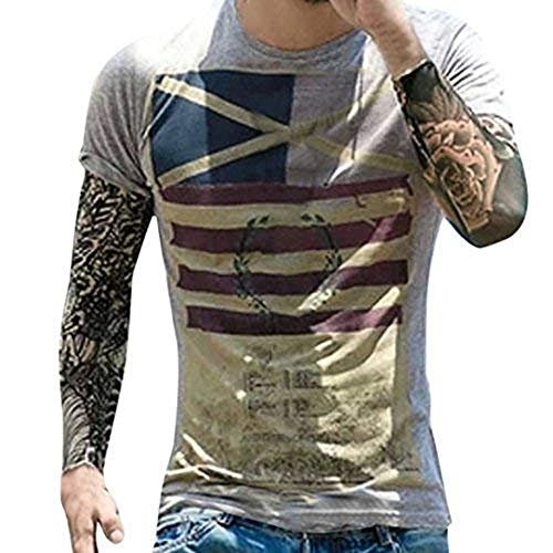 Fashion T Shirt Personality Men's Casual Tops Flag Slim Short Sleeve Tops
