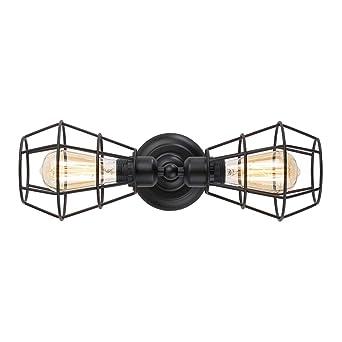 51sDdmXENQL._SX342_ koonting 2 light industrial bathroom vanity light, metal wire cage