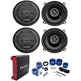 (4) Hifonics ZS525CX 5.25 400w Car Stereo Speakers+4-Channel Amplifier+Amp Kit