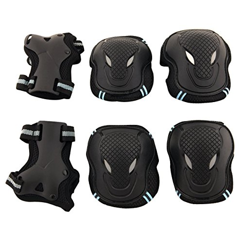 Physport Red Safety Protective Gear Keen,Elbow,Wrist 6 pcs Set Protective Pads Blue and Black M Size