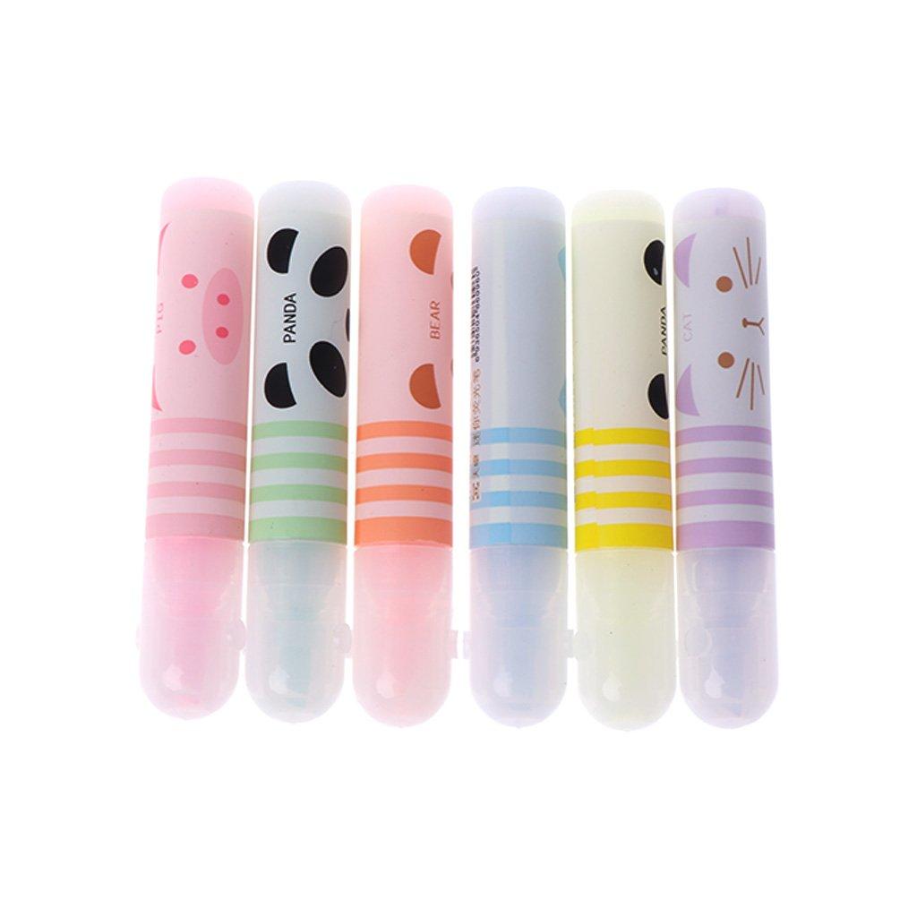 ECMQS Lot de 6mini surligneurs nette Panda Paint Marker Pen Dessin Papeterie école Fournitures de bureau