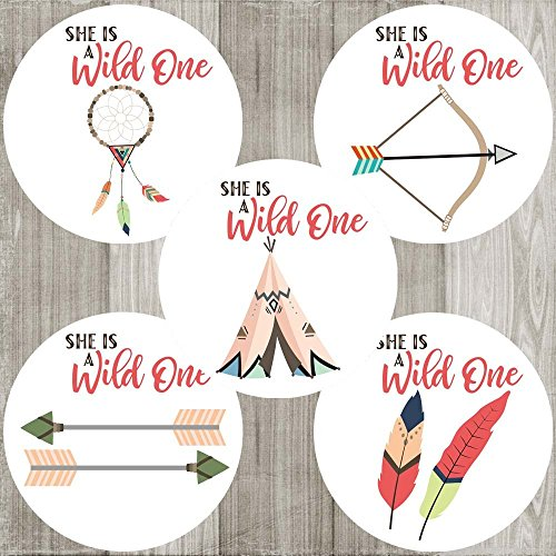 She is a Wild One Sticker Labels - Tribal Boho Girl Birthday Baby Shower Party Favors - Set of 50 (Birthday One Invitation)