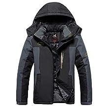 Shuoquan Men's Waterproof Mountain Jacket Fleece Windproof Ski Jacket