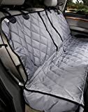 4Knines Dog Seat Cover Without Hammock for Fold Down Rear Bench SEAT 60/40 Split and Middle seat Belt Capable - Grey Regular - Fits Most Cars, SUVs, and Small Trucks - USA Based Company