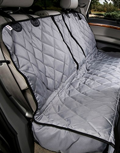 Cheap 4Knines Dog Seat Cover Without Hammock for Fold Down Rear Bench SEAT 60/40 Split and Middle seat Belt Capable – Grey Regular – Fits Most Cars, SUVs, and Small Trucks – USA Based Company