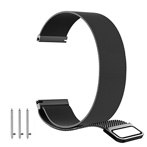22mm 20mm 18mm Milanese Loop Band - Fully Magnetic Closure Clasp Replacement Mesh Stainless Steel Metal Bracelet Strap (22MM, Black)