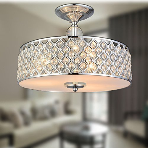 Pearl Bronze Foyer Pendant (Saint Mossi Chandelier Modern K9 Crystal Raindrop Chandelier Lighting Flush mount LED Ceiling Light Fixture Pendant Lamp for Dining Room Bathroom Bedroom Livingroom 3E12 Bulbs Required H11