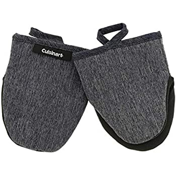 Cuisinart Chambray Neoprene Mini Oven Mitts, 2pk - Heat Resistant Kitchen Gloves to Protect Hands & Surfaces w/Non-Slip Grip & Hanging Loop -Ideal for Handling Hot Cookware/Bakeware - Charcoal