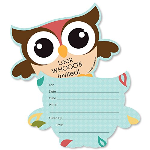Owl - Look Whooo's Having A Party - Shaped Fill-in Invitations - Baby Shower or Birthday Party Invitation Cards with Envelopes - Set of 12 -