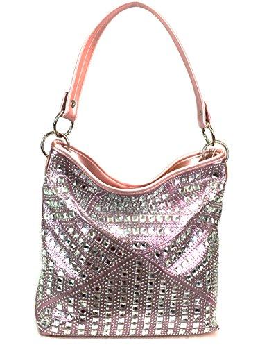 (Zzfab Concealed Carry Gem Geometry Hobo Bag Pink)