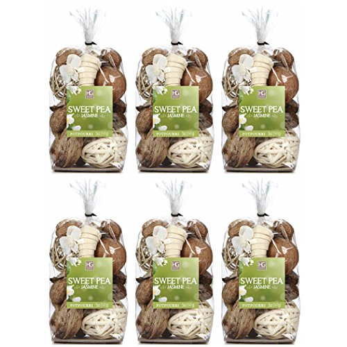 Hosley Sweet Pea Jasmine Chunky Potpourri. Set of 6 Bags, 5 Oz Each, Total 30 Oz Bulk Buy. Ideal for Party Favor, Weddings, Spa, Reiki, Meditation, Bathroom Settings. O4 (Bag Favor Spa)