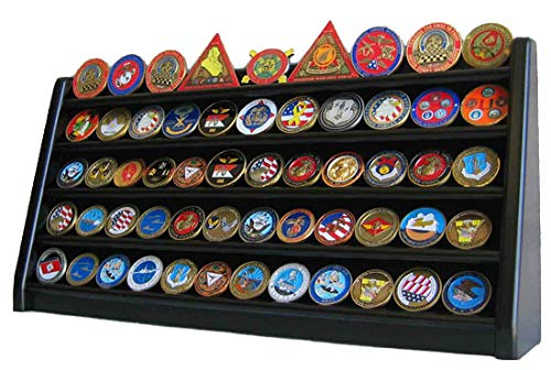 5 Rows Shelf Challenge Coin Display Stand Casino Chip Holder Rack (Black)
