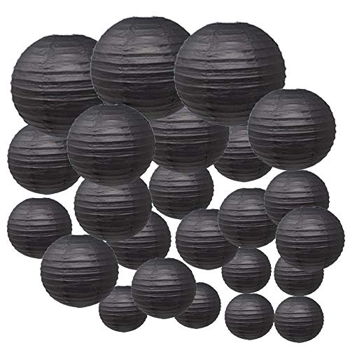 Just Artifacts Decorative Round Chinese Paper Lanterns 24pcs Assorted Sizes (Color: Black) -