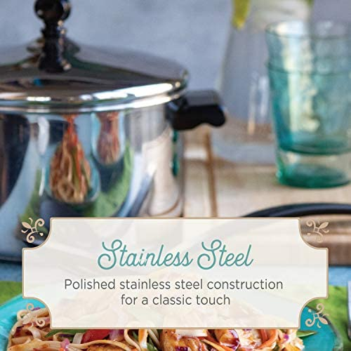 51sDfrUAyhL. AC Farberware Classic Series Sauce Pot/Saucepot with Steamer Insert, 3 Quart, Silver    Sauce it, boil it, steam it, and simmer it with the versatile Farberware Classic Stack 'N' Steam Stainless Steel Saucepot and Steamer. From lobster pot to soup pot, this multipurpose cookware combo can be used with or without the steamer insert, and boasts a full cap base featuring a thick aluminum core surrounded by stainless steel for rapid, even heating on any stovetop, including induction. Heavy-duty stainless steel is polished to a mirror finish for a classic touch and the stacking steamer pot is dishwasher safe and oven safe to 350°F.
