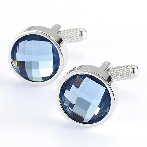 Sapphire Crystal Simple Cufflinks Fashion Crystal Wedding - Sapphire Cufflinks