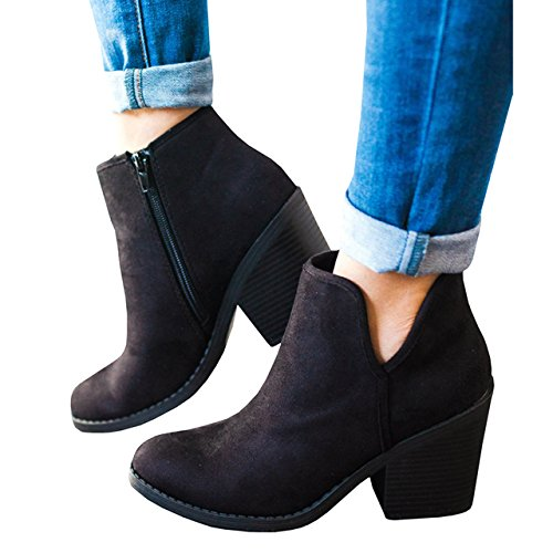 Daomumen Womens Ankle Booties Chunky Side V Cut Block High Heel Zipper Pointed Toe Boots