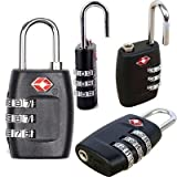 New 2 Pieces Security Padlock [ 3-dial Combination ] Travel Suitcase Luggage Bag Code Lock Black Colour, [iNculded Free Cleaning Cloth]