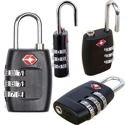 New 2 Pieces Security Padlock [ 3-dial Combination ] Travel Suitcase Luggage Bag Code Lock Black Colour, [iNculded Free Cleaning (Smart 4 Piece Luggage Set)