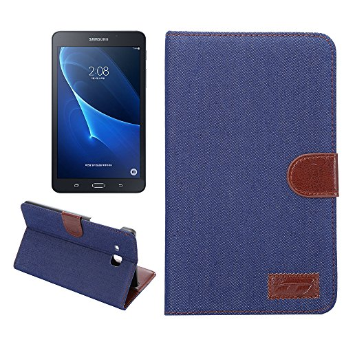 Sm Leather (Hica Samsung Galaxy Tab A 7.0,Folding Auto Sleep/Wake Feature Multi-slot Magnetic Flip Denim Texture Pattern PU Leather Cover Case for Samsung Galaxy Tab A 7.0 (SM-T280 ) (Dark Blue))
