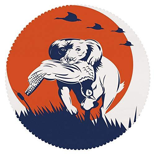 iPrint American Round Tablecloth [ Hunting Decor,Cocker Spaniel Gun Dog Retrieving Pheasant Flying Ducks at Sunset,Dark Blue Orange White ] Kids Designs