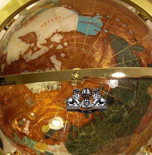 Unique Art Since 1996 37'' 4-Leg Gold Floor Stand Amberlite Pearl Swirl Ocean Gemstone Globe
