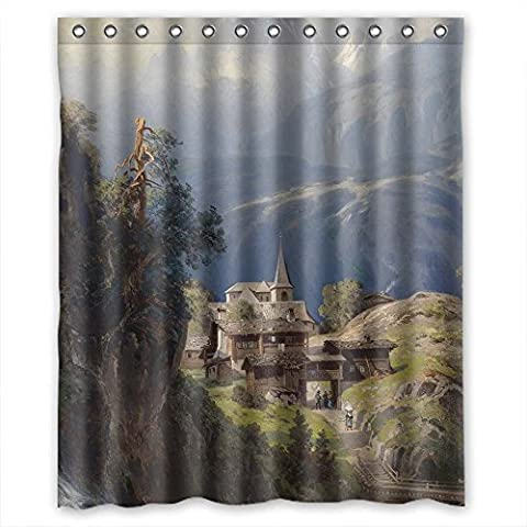 MaSoyy Polyester Bathroom Curtains Of Beautiful Scenery Landscape Painting For Gf Kids Girl Artwork Husband Custom. Anti Bacterial Width X Height / 60 X 72 Inches / W H 150 By 180 (The Nanny With The Skull)