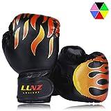 Luniquz Kids Boxing Gloves, Child Punching Gloves for Punch Bag Training, 4 OZ 6 OZ Fit 3 to 14 YR, Black
