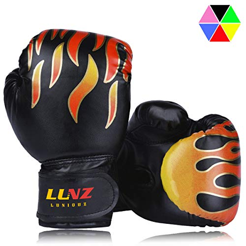 Luniquz Kids Boxing Gloves, Child Punching Gloves for Punch Bag Training, 4 OZ 6 OZ Fit 3 to 14 YR, Black