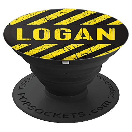 Logan Gift Construction Stripes Yellow Black Vintage Men - PopSockets Grip and Stand for Phones and ()