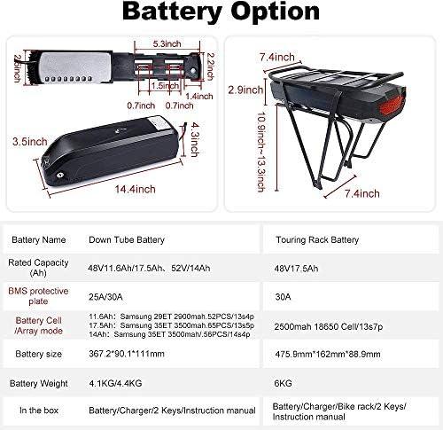 Bafang Bicicleta eléctrica BBS02B 48V 750W Kit de conversión de Bicicleta de montaña con Motor Central Bicicleta de EBike con batería de 48V 11.6/17.5Ah Hailong/Portaequipajes Batería /52V 14Ah: Amazon.es: Deportes y aire