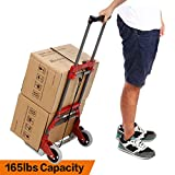 Anfan Folding Luggage Cart Portable Personal Moving Hand Truck 2 Wheels Foldable Platform Truck Shopping Cart - Support 165lbs Capacity (Red)