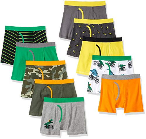 Amazon Brand - Spotted Zebra Boys' Big Kid 10-Pack Boxer Brief Underwear, Camo, X-Large (12)