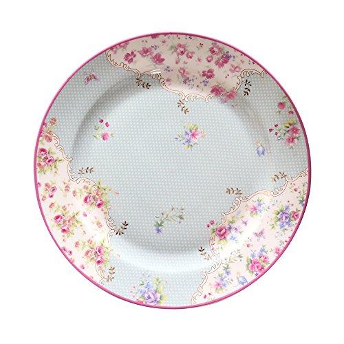 - Salad/Dessert/Bread&Butter Plate Set of 2 Fine Bone China, Vintage Floral Design with Polka Dots (Allesa Collection), 8-Inch (Blue)