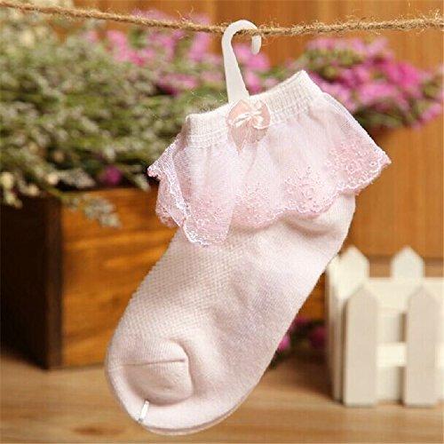 SED Calcetines de algodón para bebés Arcos de Encaje Calcetines sin Hueso Niños y niñas (10 Pares),Malla Blanca, a la...