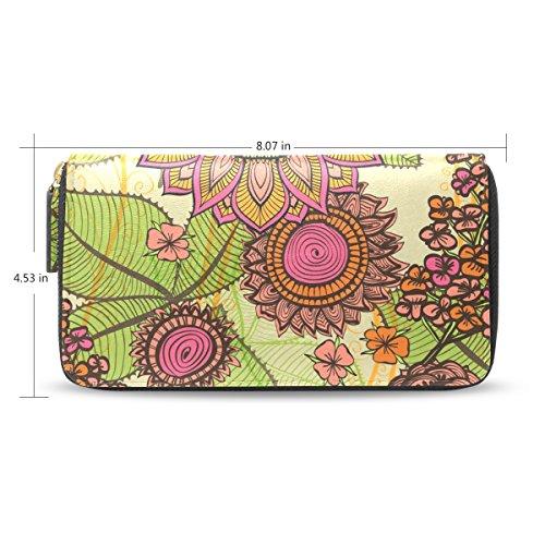 Clutch Leather long Wallet for Women,Retro Vines Floral,Card Holder Purse Bag (Large Clutch Vine Wallet)