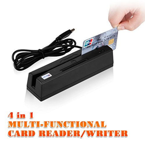4in1 USB Credit Card 3 Track Hi Lo Co Magnetic Reader Swiper for POS System Cashier + IC Card, RFID Card and PSAM Card Reader/Writer